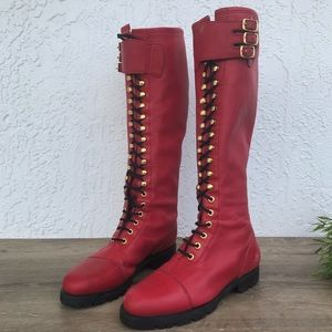RARE VTG Nine West red tall lace up combat boots